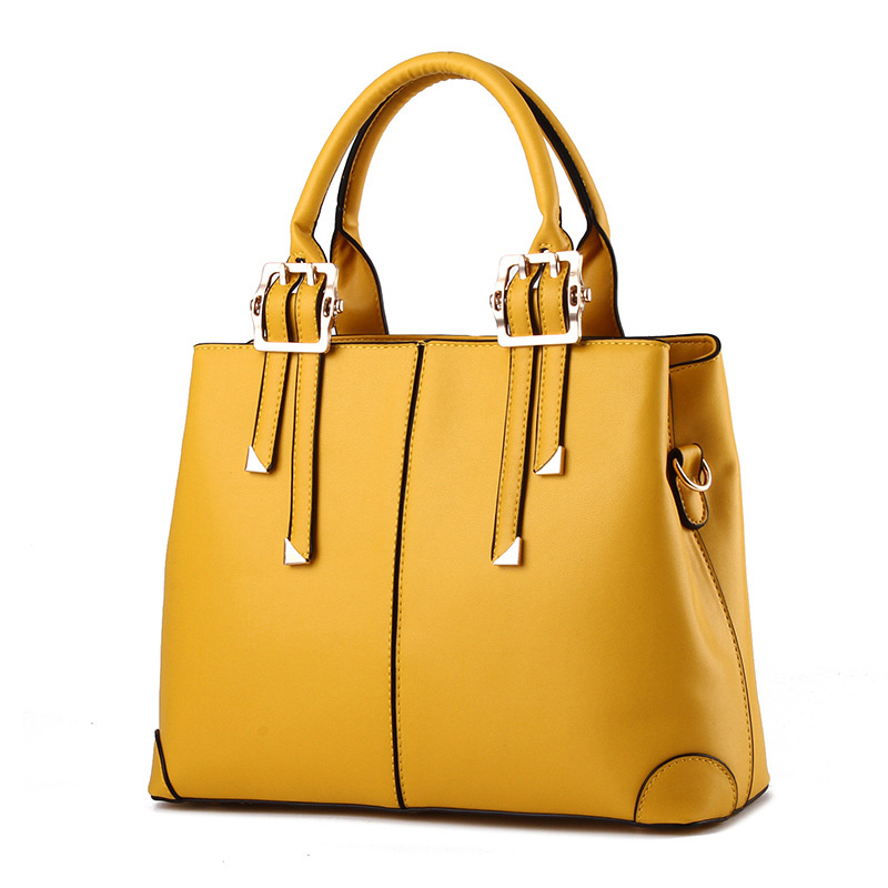 Fashion Lemon Yellow PU Women Handbag Elegant Office Lady Shoulder Bag Casual Clutch Tote elegant pu office lady business handbag casual clutch fashion women shoulder bag zipper pink