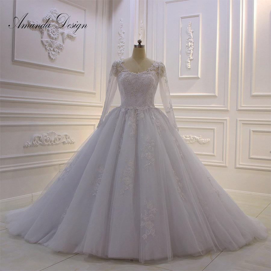 Amanda Design trouwjurk Long Sleeve Lace Appliqued Ball Gown Wedding Dress