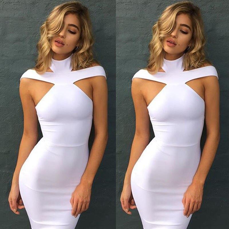 Женское Бандажное мини-платье, однотонное повседневное мини-платье без рукавов, летняя модная женская одежда
