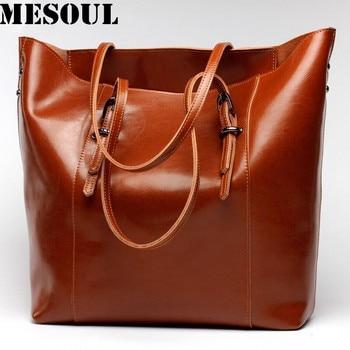 Women Handbag Genuine Leather Shoulder Bag Female Bags Cowhide portable shopping bag Vintage Large Capacity Tote Bolsos grande bolsas femininas de couro