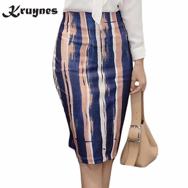 e2b71eca183aa 2018 new Style Women Skirts Vintage Printed Pencil Skirt Knee-Length  Elastic High Waist Ladies Pattern Slim Skirts S-5XL