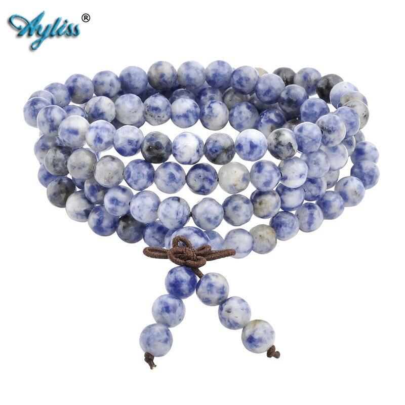 Ayliss 1pc Hot 6mm 8mm Natural Sodalite Stone Healing Gem Stone 108 Buddhist Prayer Beads Tibetan Mala Stretch Bracelet Necklace