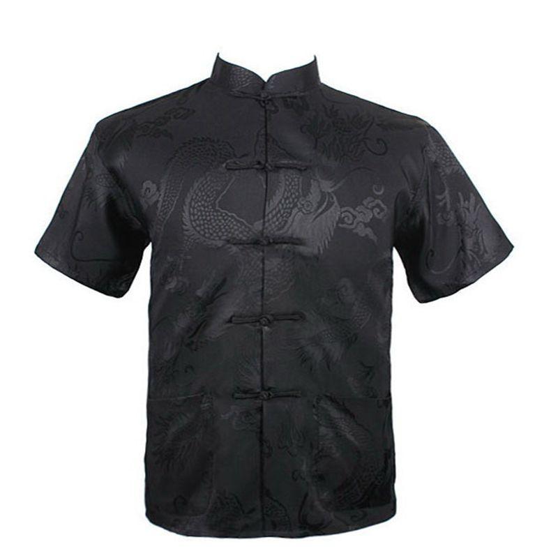 Men New Arrival Shirt Chinese Tradition Style Dragon Pattern Kung Fu Short Sleeve Shirts M-L-XL-XXL-3XL