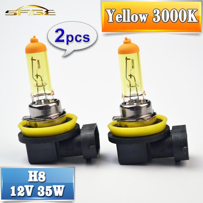 flytop H8 Halogen Bulb Yellow 12V 35W 2 PCS 3000K PGJ19-1 Quartz Glass Car HeadLight Auto Halogen Lamp