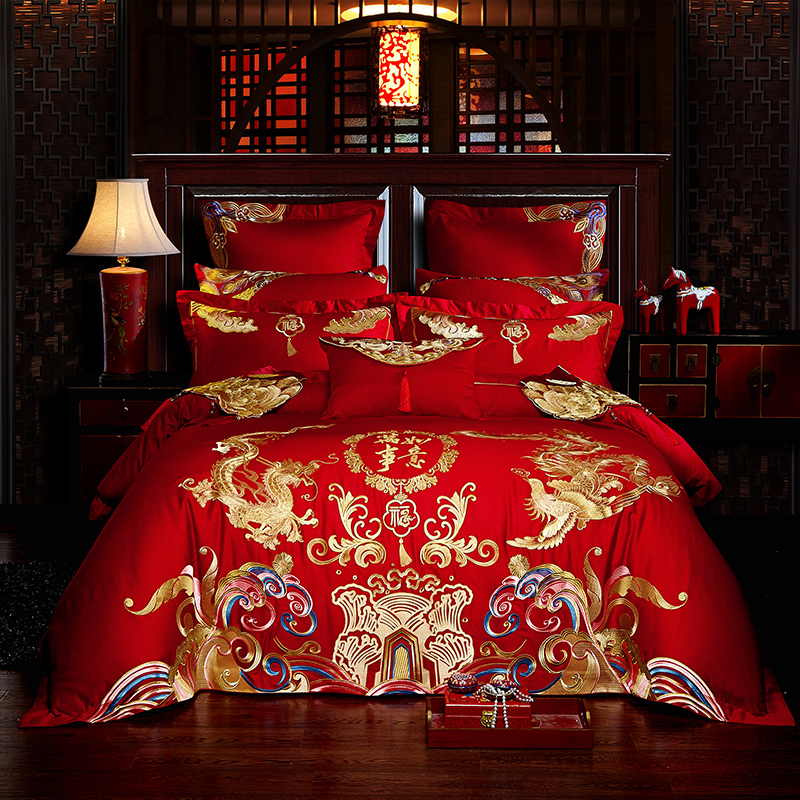 New Luxury Gold Loong Phoenix Embroidery Red Wedding Bedding Set 60S Egyptian Cotton Duvet Cover Bed sheet Bedspread Pillowcases
