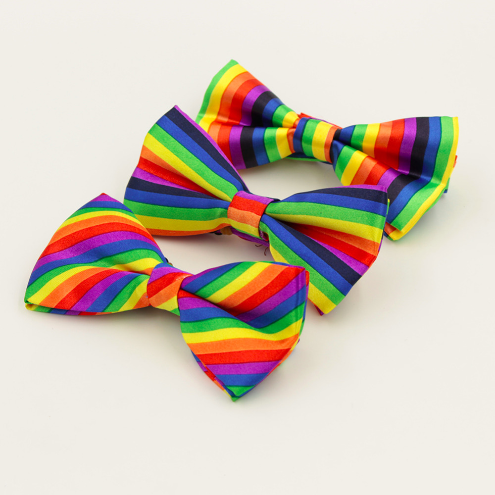 Bowties Cravat Groom Wedding-Party Rainbow-Striped Women Colorful Fashion For Leisure