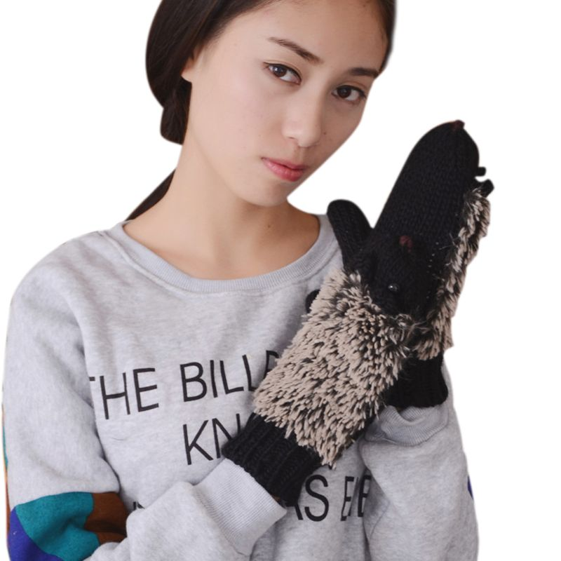 <font><b>Womens</b></font> Cartoon Hedgehog Handschuhe Verdicken Winter <font><b>Hand</b></font> Wärmer Gestrickte Handgelenk Fäustlinge image