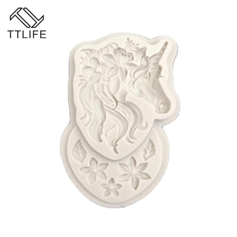 DIY 3D Silicone Mold Unicorn Head Shaped Flower Cake Fondant Decorating Tools