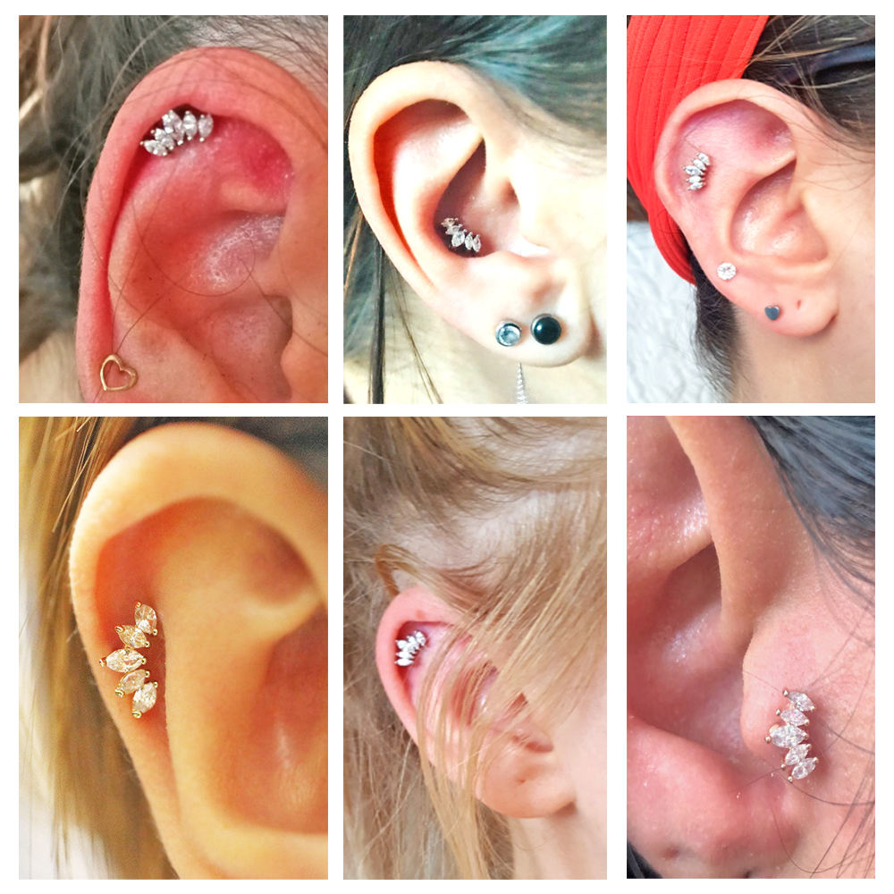 1PC 16g Steel Marquise Zircon Ear Helix Tragus Top Upper Earring Crystal Flower Ear Tragus Cartilage Orelha Helix Ear Stud