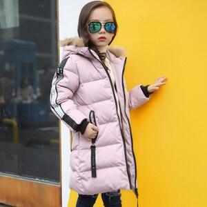 Image 4 - Sıcak 2019 kızlar kış yeni pamuk ceketler kızlar moda kürk yaka harfler mont kız kalınlaşma kapşonlu sıcak ceket çocuk giysileri