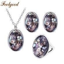 Feelgood Новый Простой Набор Ювелирных изделий Овальный Shell Камень Ожерелье Серьги Кольцо Устанавливает Ювелирные Изделия Модный Женщины Партия Подарок