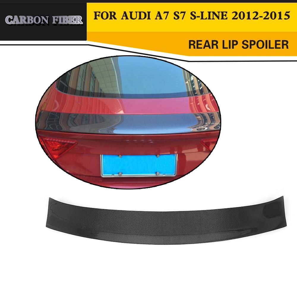 JC Style Carbon Fiber Rear wing lip Spoiler Auto Car Boot Lip for Audi A7 / S7 / S-Line 2012-2015