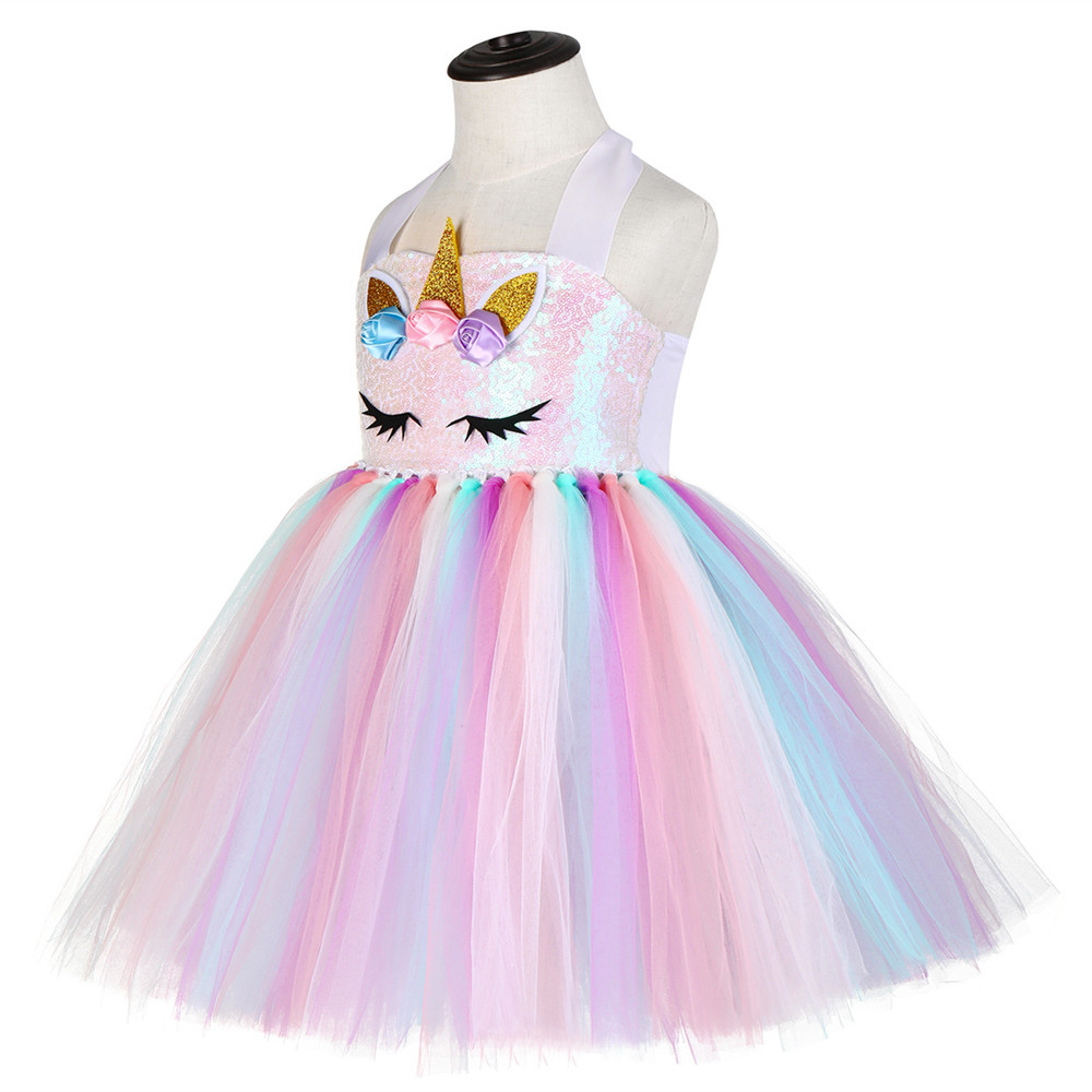 Pink Child Sequin Top Pony Unicorn Dress Pastel Girls Clothing Knee Length Unicorn Pattern Birthday Girl Party Dress Tutu Gowns in Dresses from Mother Kids