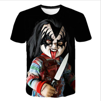 Chucky T Shirt Demon Death Scary Evil Hip Hop Satanism Grim Reaper T-shirt Supernatura Man/Women Tshirt American Horror Story let s summon demons men s satan raglan long sleeve t shirt demon death scary evil grim reaper funny man tee shirt streetwear