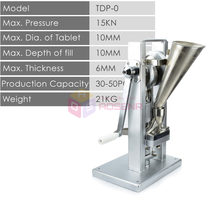 TDP 0 Hand operated Single Punch Tablet Press Machine Laboratory Medicine Herbal Powders Manual Tablet Pill