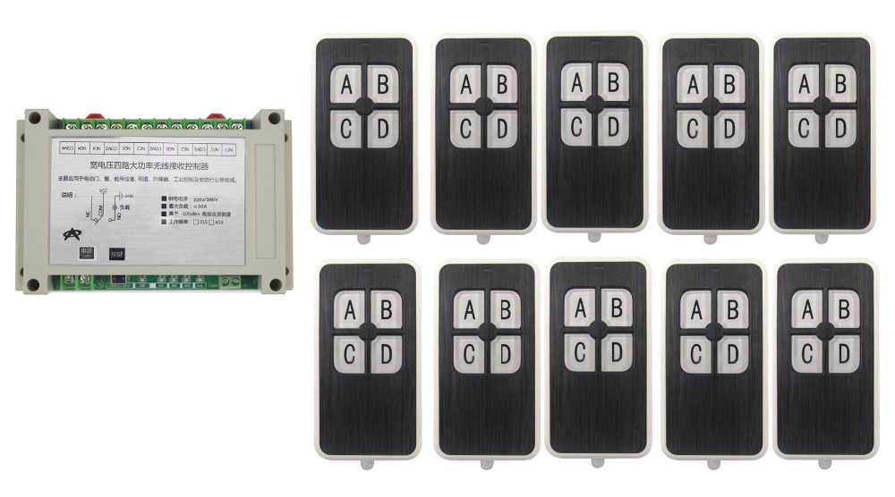 220V 380V 4CH 30A RF Wireless Remote Control System teleswitch 10pcs transmitter and receiver universal gate remote control new dc24v 4ch rf wireless remote control system teleswitch 3 transmitter and 1 receiver universal gate remote control 315 433mhz
