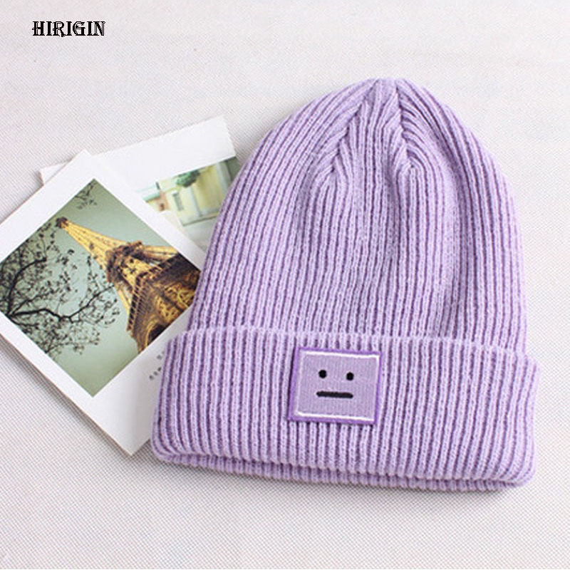 HIRIGIN 2017 Autumn winter beanies hat unisex knitted wool Skullies casual Smile Crochet Braided cap 4 colors ski gorros cap нож кухонный сантону 175 мм samura harakiri shr 0095w