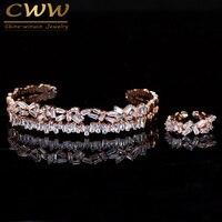 CWWZircons Adjustable Size Baguette Cubic Zirconia Pave Silver And Rose Gold Color Bracelet Bangle Ring Sets