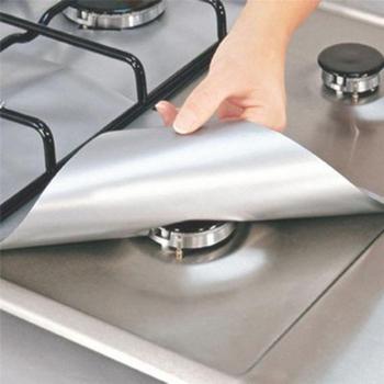 Czarna srebrna folia ochronna na kuchenkę gazową wielokrotnego użytku palnik gazowy pokrywa mata wykładzinowa ochrona przeciwpożarowa ochrona narzędzia kuchenne dostawa tanie i dobre opinie GX-12 Ekologiczne Nowoczesne SQUARE Glass and Fiber Maty i podkładki Silver Black FDA LFGB 27*27cm 10 63*10 63inches Specialty Tools