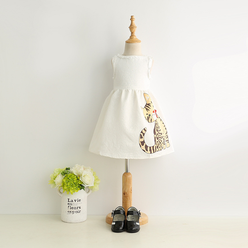 2018 Kids Girls Summer White Tutu Dress Cat Cartoon Print Sleeveless O neck Birthday Evening Party Princess Jacquard Ball Dress cat print hooded dress