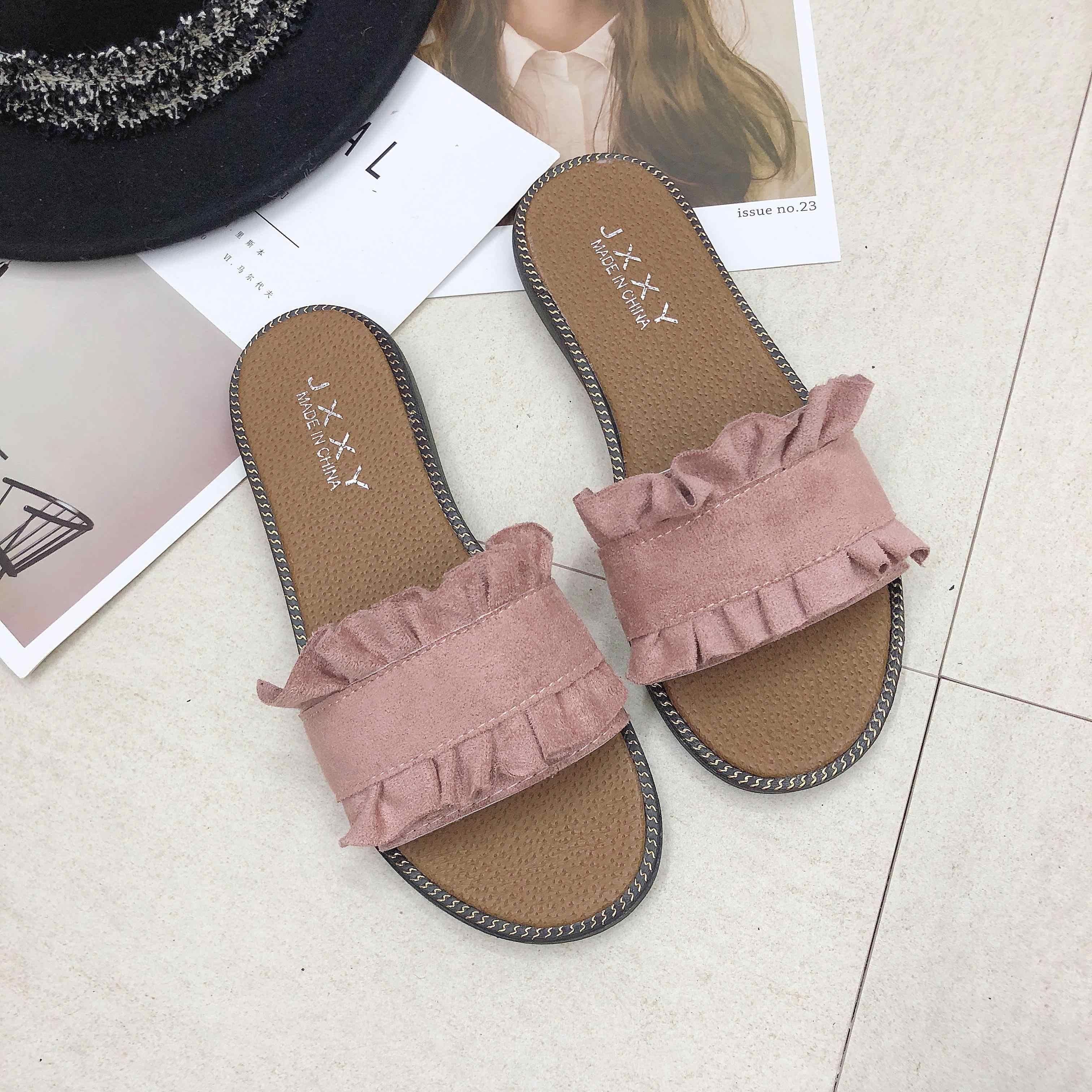 女性サンダルに反転フロップ夏のスタイルの靴フラットサンダルファッション女性のスライドの Size35-40 sandalias mujer 2019