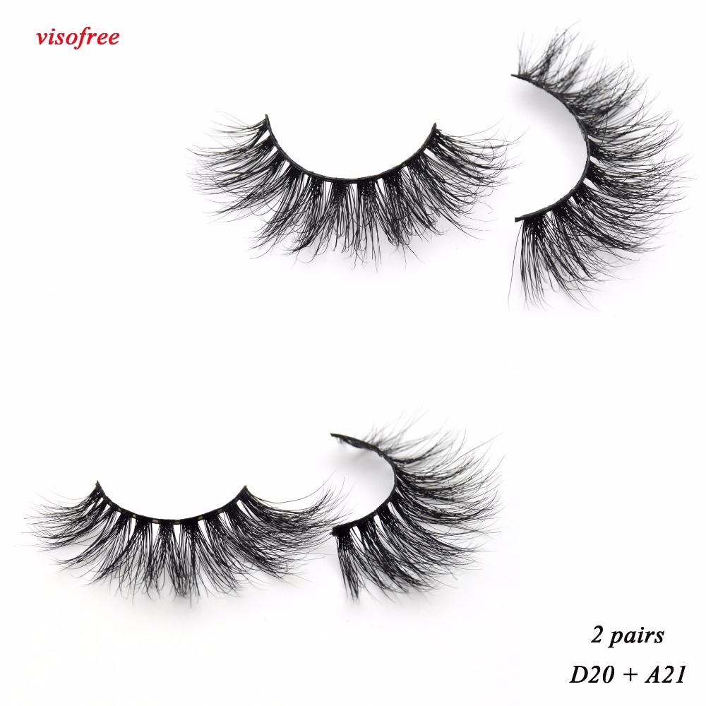 2pairs Visofree Mink Eyelashes 3D Mink Lashes Full Strip Lashes Criss-cross Handcrafted Cotton Band False Lashes D20 A21 Lash image