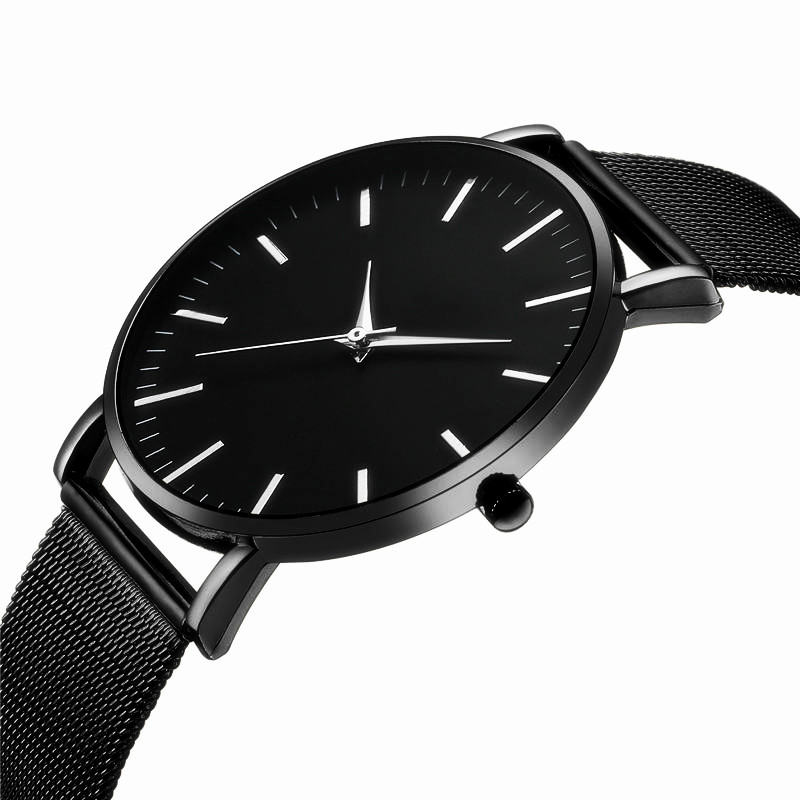 CTPOR Waterproof Men Watch Ultra Thin Stainless Steel Clock Brand Erkek Kol Saati Black Watchband Scratch Resistant Man Watches