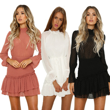 liva girl Summer Lace Dress New 2019 Women Runway Hollow Out Patchwork Long Sleeve Perspective Stand Collar Robes Sexy