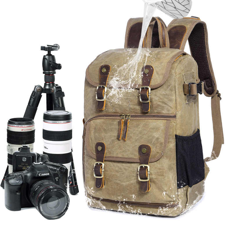 Photography bag camera SLR shoulder photography backpack Multifunction waterproof capacity wax dye canvas backpack outdoor bag
