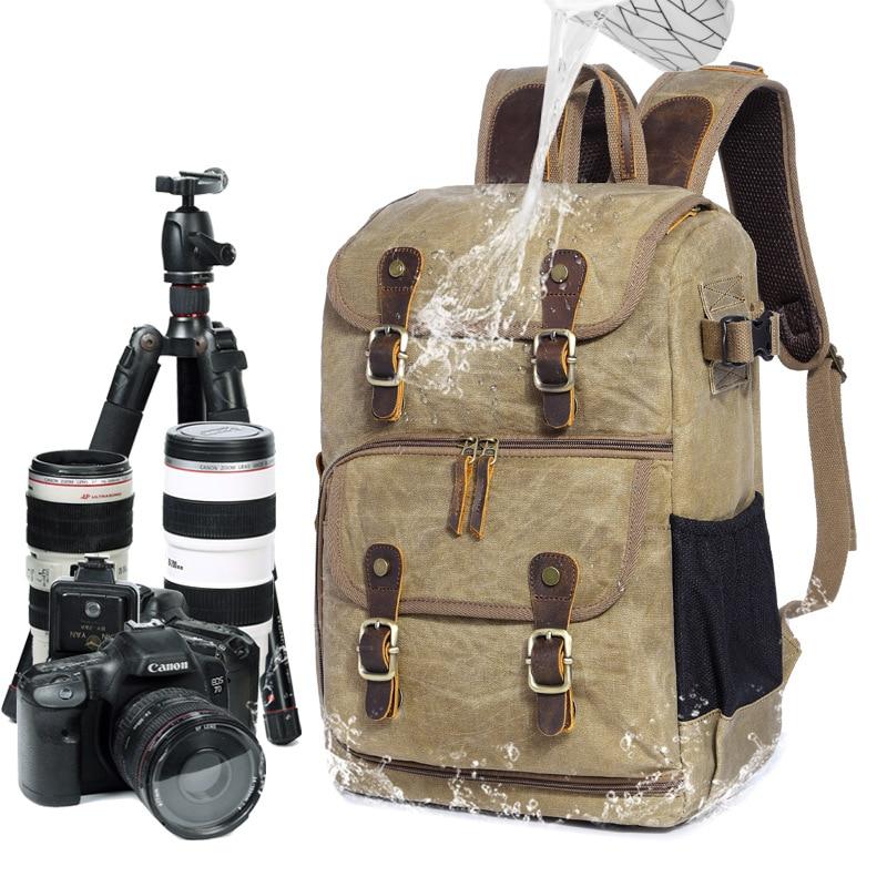 Outdoor Product//Fashion Bag Camera Bag Waterproof Photography Bag Camera SLR Shoulder Photography Backpack Waterproof Large Capacity Wax Dye Canvas Backpack Outdoor Bag