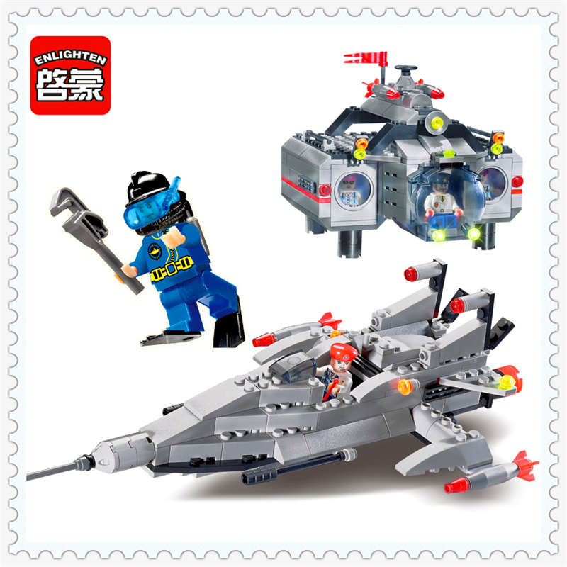 цены на ENLIGHTEN 816 Military Submarine Boat Model Building Block 382Pcs DIY Educational  Toys For Children Compatible Legoe в интернет-магазинах