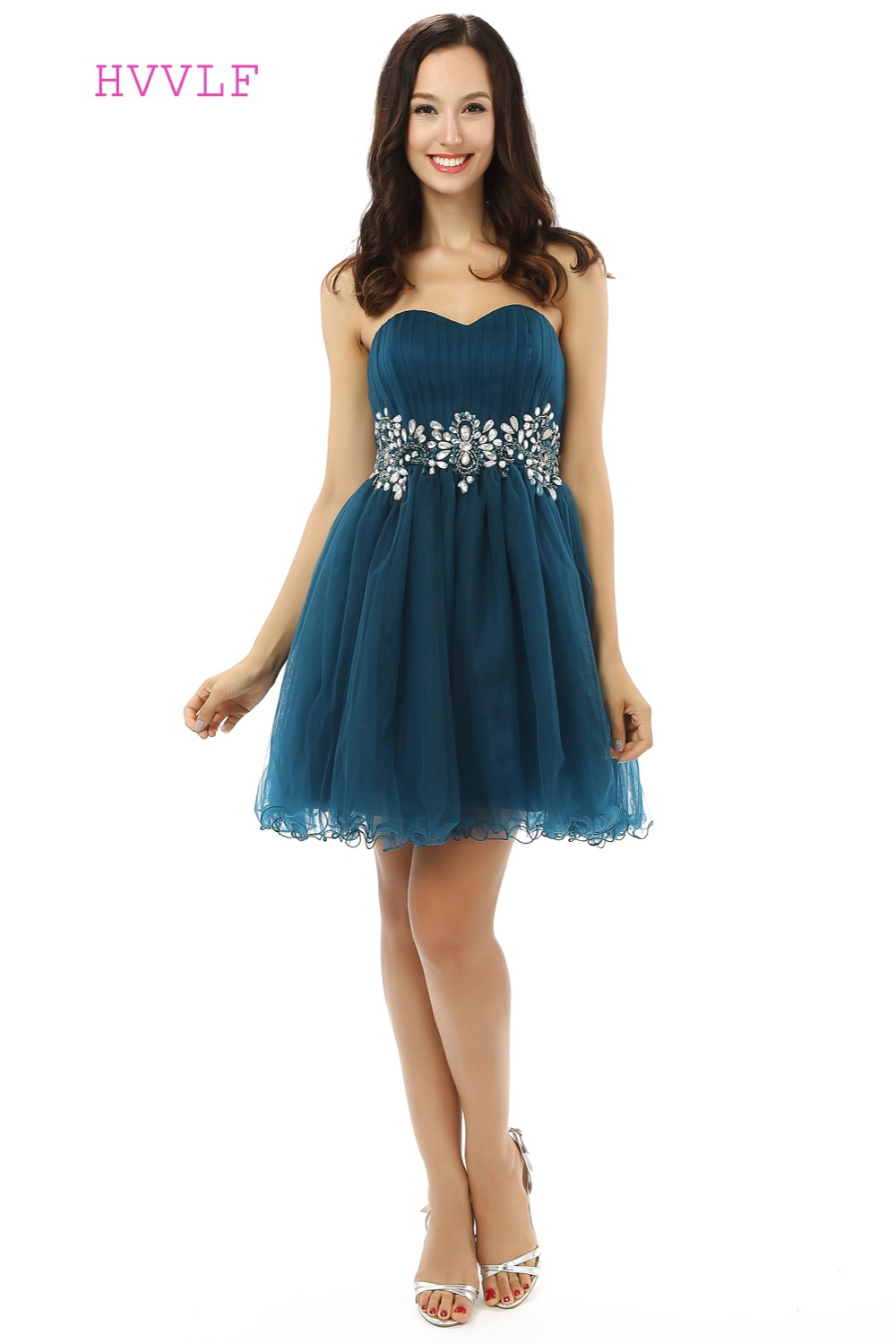 Dark Blue Homecoming   Dresses   A-line Sweetheart Organza Beaded Crystals Short Mini Sparkly Sweet 16   Cocktail     Dresses   2019