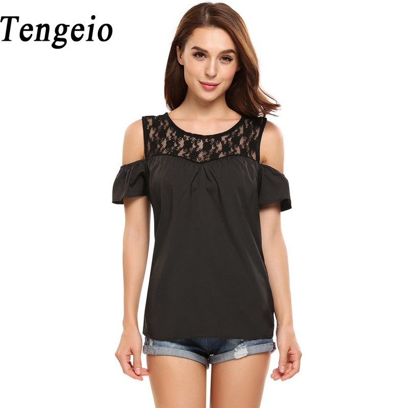 717d87e4dc841d Tengeio T Shirt Women Summer Cold Shoulder Tops Casual Short Sleeve Lace  Patchwork Floral T Shirt Tee Shirt Femme XXL 830 -in T-Shirts from Women's  Clothing ...