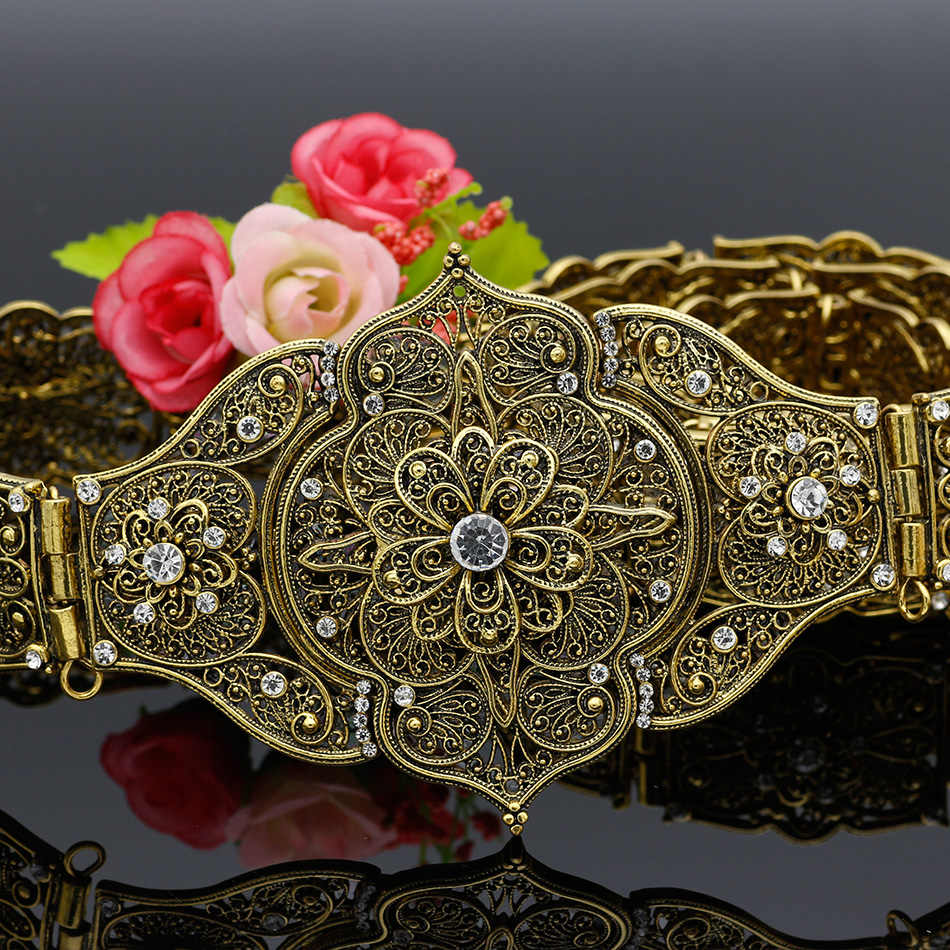 70260a8959d0c ... Vintage Lady Carving Metal Waist Chain Handmade Braided Belts Morocco  Style Adjust Length Antique Gold Color ...