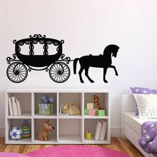 Girl Room Decor Carriage Princess Horse Wall Sticker Cute Nursery Mural Decals Style Art AY1201