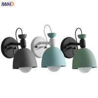 IWHD נורדי לופט סגנון מודרני פמוט קיר להתאים ברזל LED קיר אור גופי עבור מיטת מחקר קיר מנורת בית תאורה-במנורת קיר פנימית LED מתוך פנסים ותאורה באתר