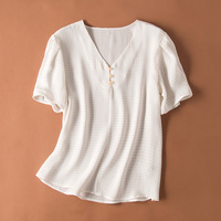 2019 summer woman blouse shirt 100% silk V neck white wave point loose soft fashion comfortable ladies shirt top i116