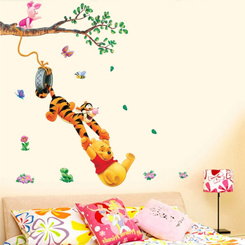 Pooh tree Animal Cartoon Vinyl Wall stickers for kids rooms Home decor DIY Child Wallpaper Art Decals 3D Design House Decoration 1