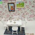 Móveis casa de bonecas Em Miniatura 5 pcs Modelo de Cadeira de Mesa De Jantar Branca Conjunto De Sala De Jantar Móveis Em Miniatura Boneca Brinquedos 1:12 Escala