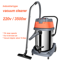Industrial type vacuum cleaner wet & dry dual use dust collector multi filte dust cleaning machine 70L capacity 220v 3500w 1pc