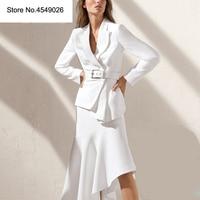 Комплект из 2 предметов для женщин с длинным рукавом однотонный белый блейзер Пальто с Империя нерегулярные Mid удлиненная юбка Женский Осен