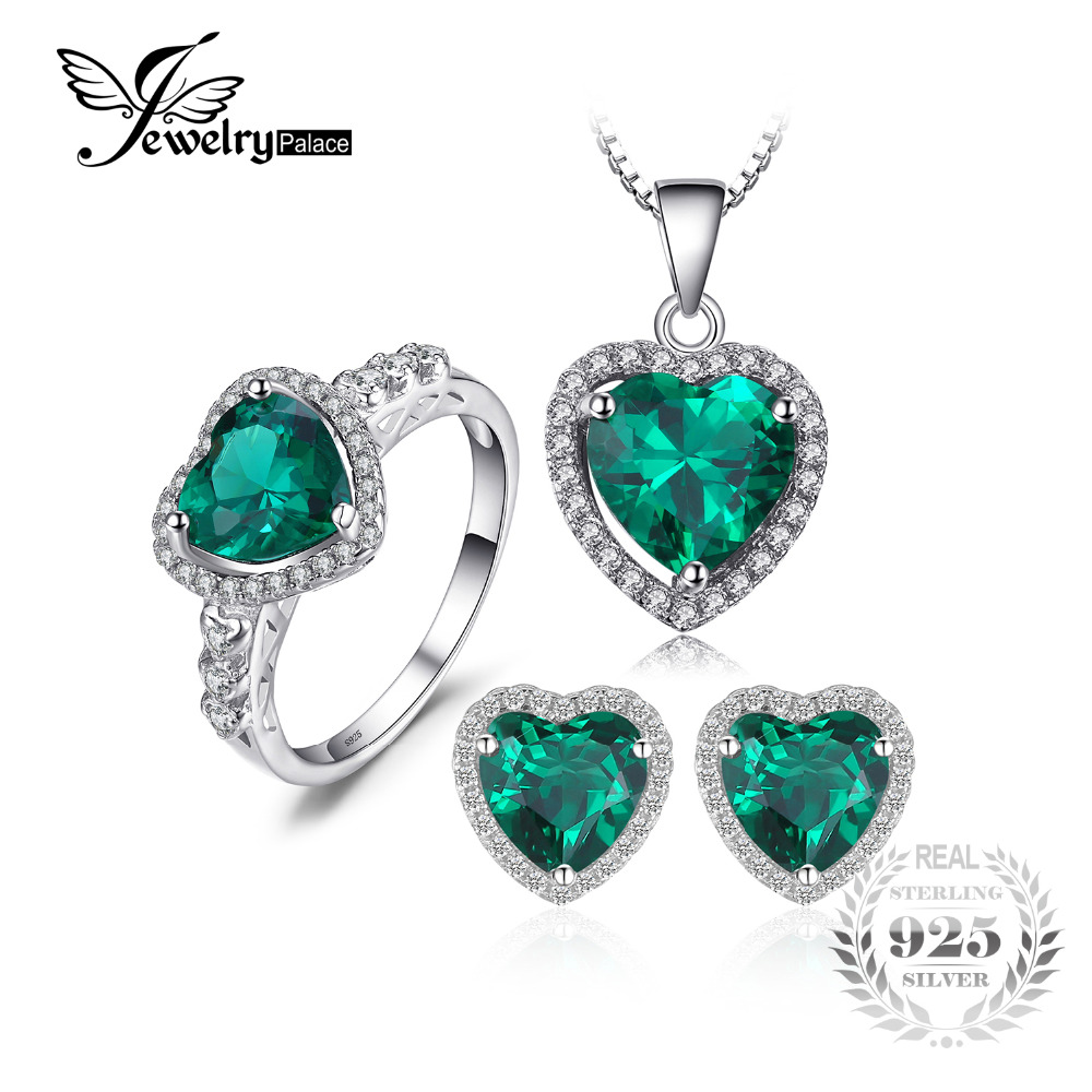 Jewelrypalace Love Created Emerald Ring Pendant Earrings Stud Engagement Wedding Sets 925 Sterling Silver Heart Fashion Jewelry jewelrypalace princess diana jewelry engagement wedding created emerald jewelry 925 sterling silver ring pendant earring