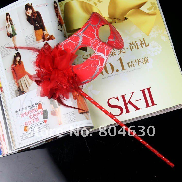Crack Party masks Stick masquerade mask feather flower aside woman Hip Hop Dance costume mix color - Caly Tao's store
