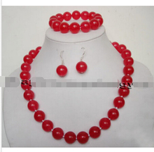 12mm Red Ruby round beads Necklace Bracelet Earrings Set AAA Grade^18K GP style Fine jewe Noble Natural jade FREE SHIPPING