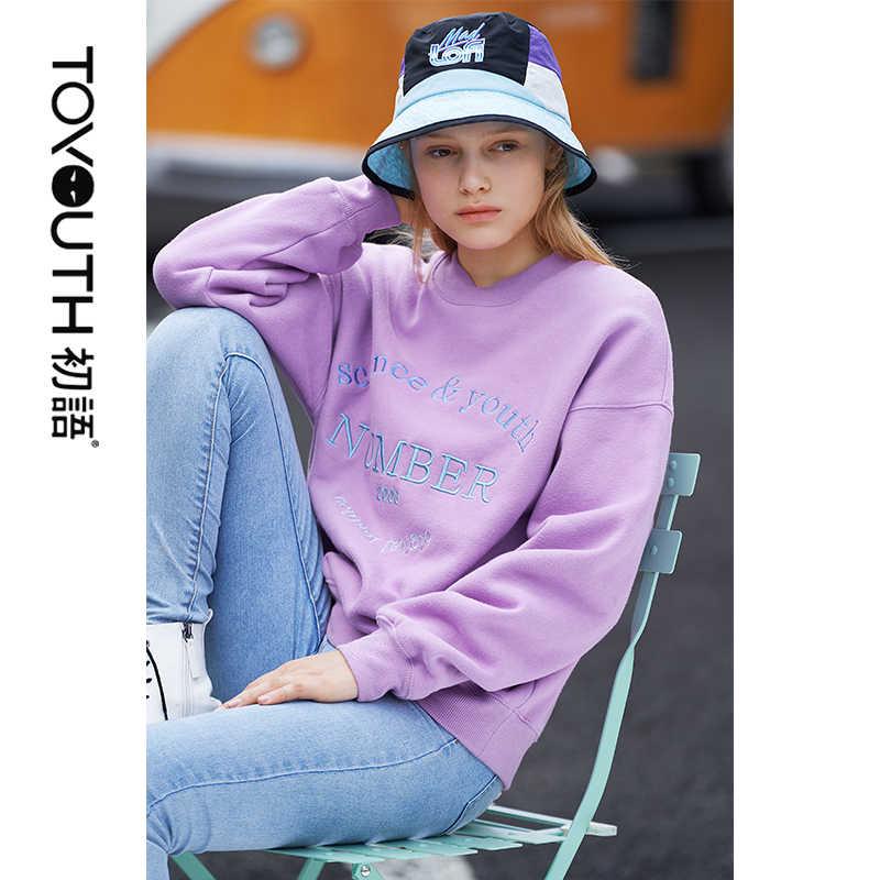 Toyouth Brief Stickerei Frauen Sweatshirt Harajuku Herbst Übergroßen Sweatshirts Winter O Hals Pullover Lose Langarm Tops