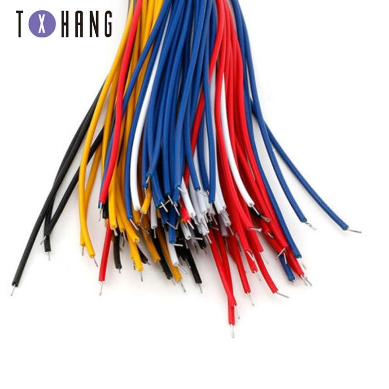 100 шт. /лот оловянный макет перемычка кабеля для Arduino гибкий 20 см два конца ПВХ провода электронный 5 цветов