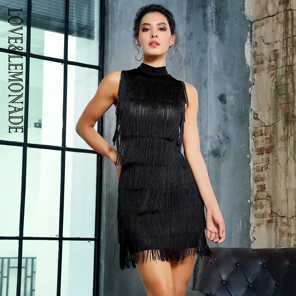 Love Lemonade Black Side Cut Out Tassel Decoration Slim Dress LM81353