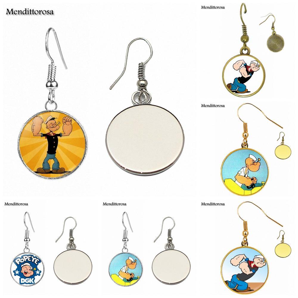 For Women Men Glass Bronze/Silver/Golden Clip Ear Hook Drop Earringss Popeye