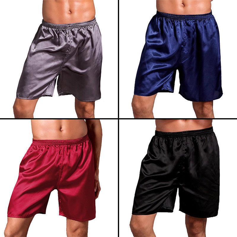 Hirigin Men Silk Satin Boxers Shorts Shiny Lounge Sports Short Panties Sleepwear Pyjamas