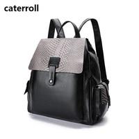 waterproof women backpack genuine leather bagpack alligator cow leather ladies travel bags 2019 new real leather shoulder bag